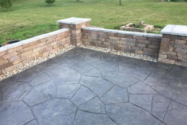 Recolored Stamped Concrete Patio Floor