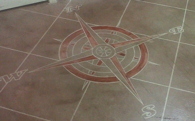 Design by project: Stenciling Concrete Floor With Dye Colors