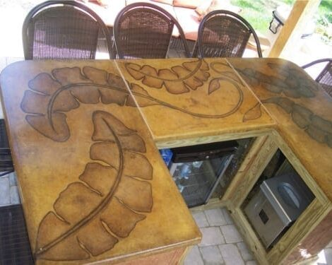 acid stained poolside countertop