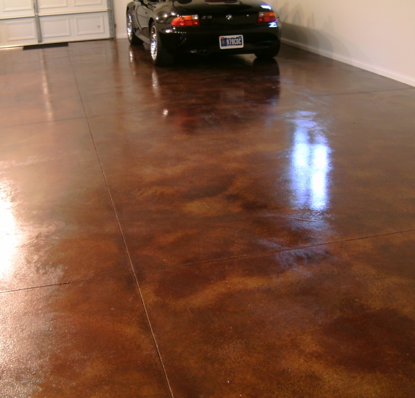 Cola and Coffee Brown Acid Stains Sealed with High Gloss, Solvent-Based Acrylic Sealer