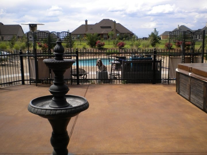 Concrete Patio stained with Russet and Cafe Royale Antiquing Stains and sealed with a solvent-based satin acrylic concrete sealer