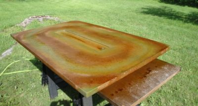 Stained Concrete Fire Table Coffee Brown and Avocado Acid Stains