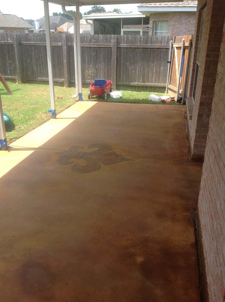 Design by project: Concrete Acid Stain Stenciled Designs