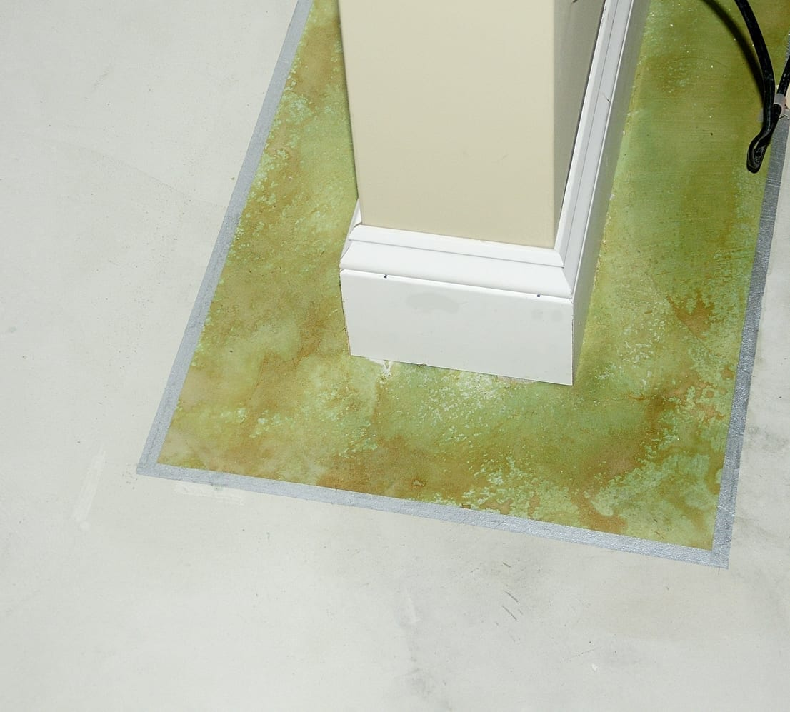 Design by colorant: Concrete Overlay Carpet Tack Holes Away