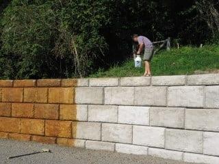 Acid Stain Concrete Retaining Walls