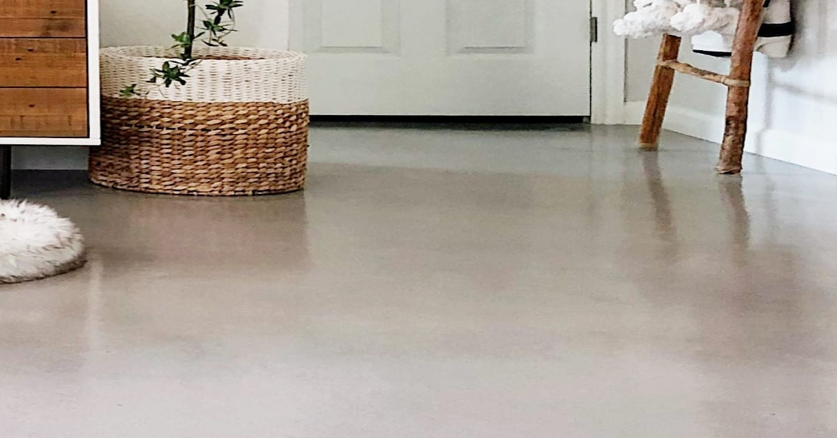 White Concrete Stained Bat Floor