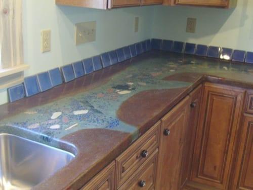 Acid Stain Crushed Granite Aggregates Countertop