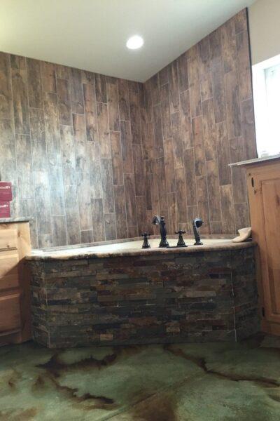 Acid Stained Bathroom Floor