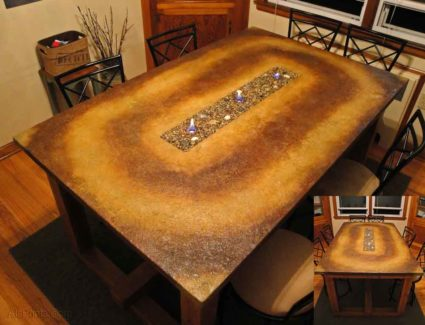 Acid Stained Concrete Table Fire Pit