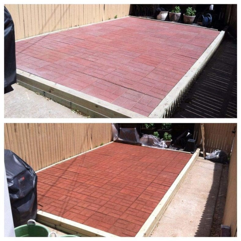The above photo was taken before outdoor concrete stain was applied. The bottom was taken after.