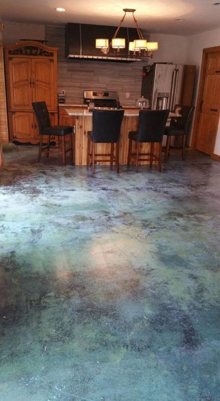 Blue Marbled Acid Stain Floor