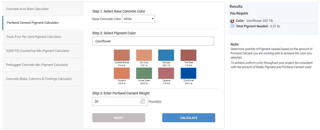Portland Cement Pigment Calculator
