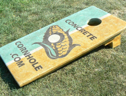 Concrete Cornhole game stained with Azure Blue and Desert Amber Acid Stains