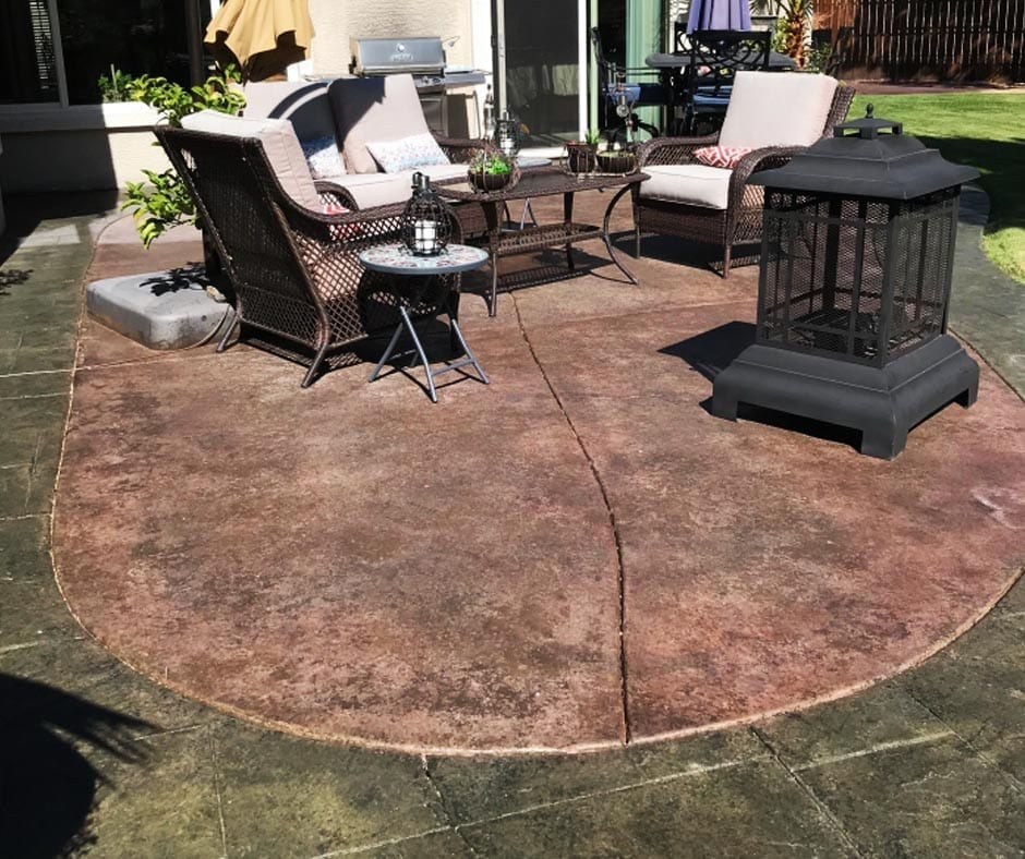 Concrete Patio - Antiquing Stains: Olive, Black, Aztec Brown and Charcoal. Satin Finish Solvent Based Acrylic Concrete Sealer - Wet