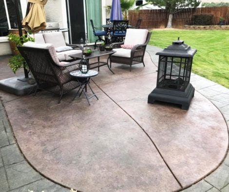 Concrete Patio - Antiquing Stains: Olive, Black, Aztec Brown and Charcoal. Satin Finish Solvent Based Acrylic Concrete Sealer