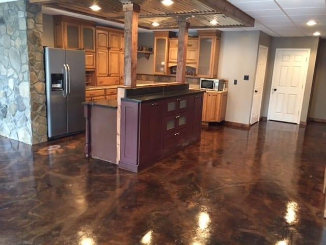 Acid Staining Basement Kitchen Floors