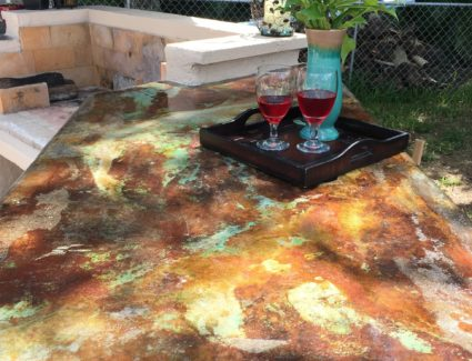 Marbled Acid Stained Outdoor Countertop