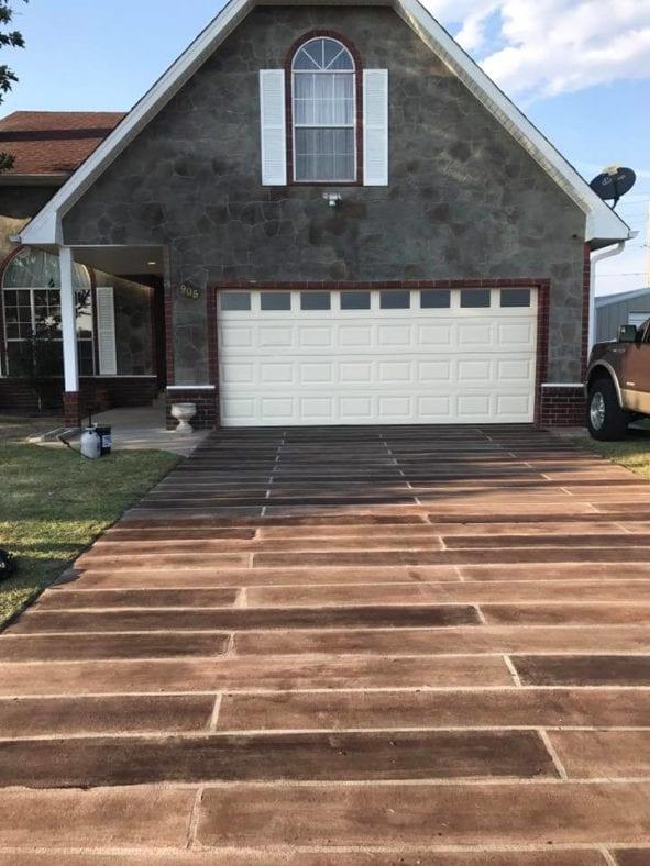 Faux Wood Stamped Concrete Driveway