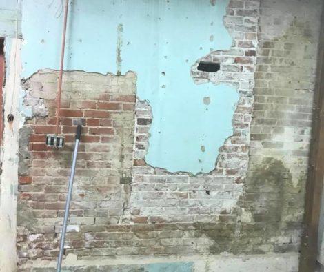 Before Faux Brick Wall Stencil