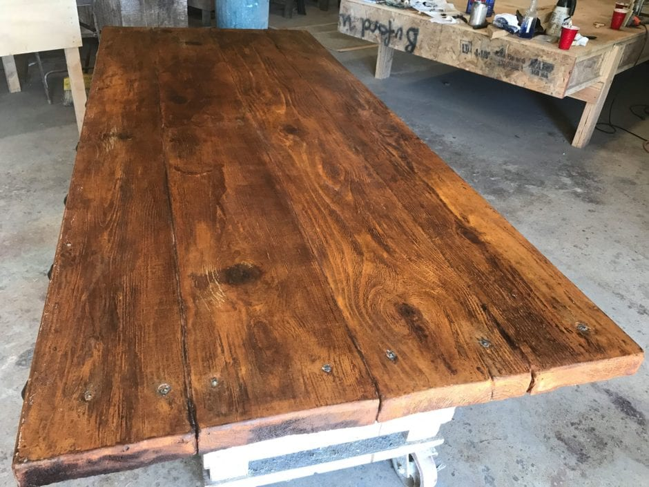 Concrete countertop stained to look like wood