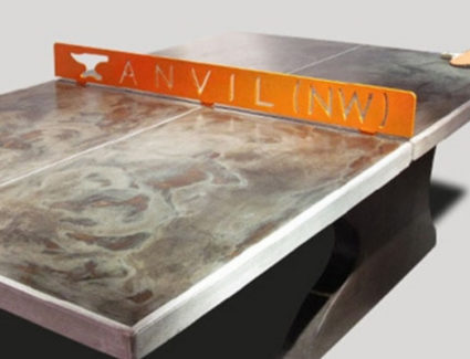 Acid Stained Black Concrete Ping Pong Table