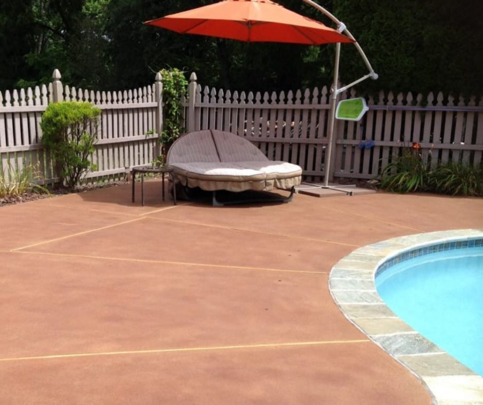 Rough Concrete Pool Deck Stained with Antiquing Stain