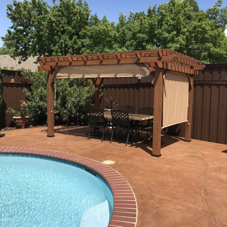 Refinished Stamped Concrete Pool Deck
