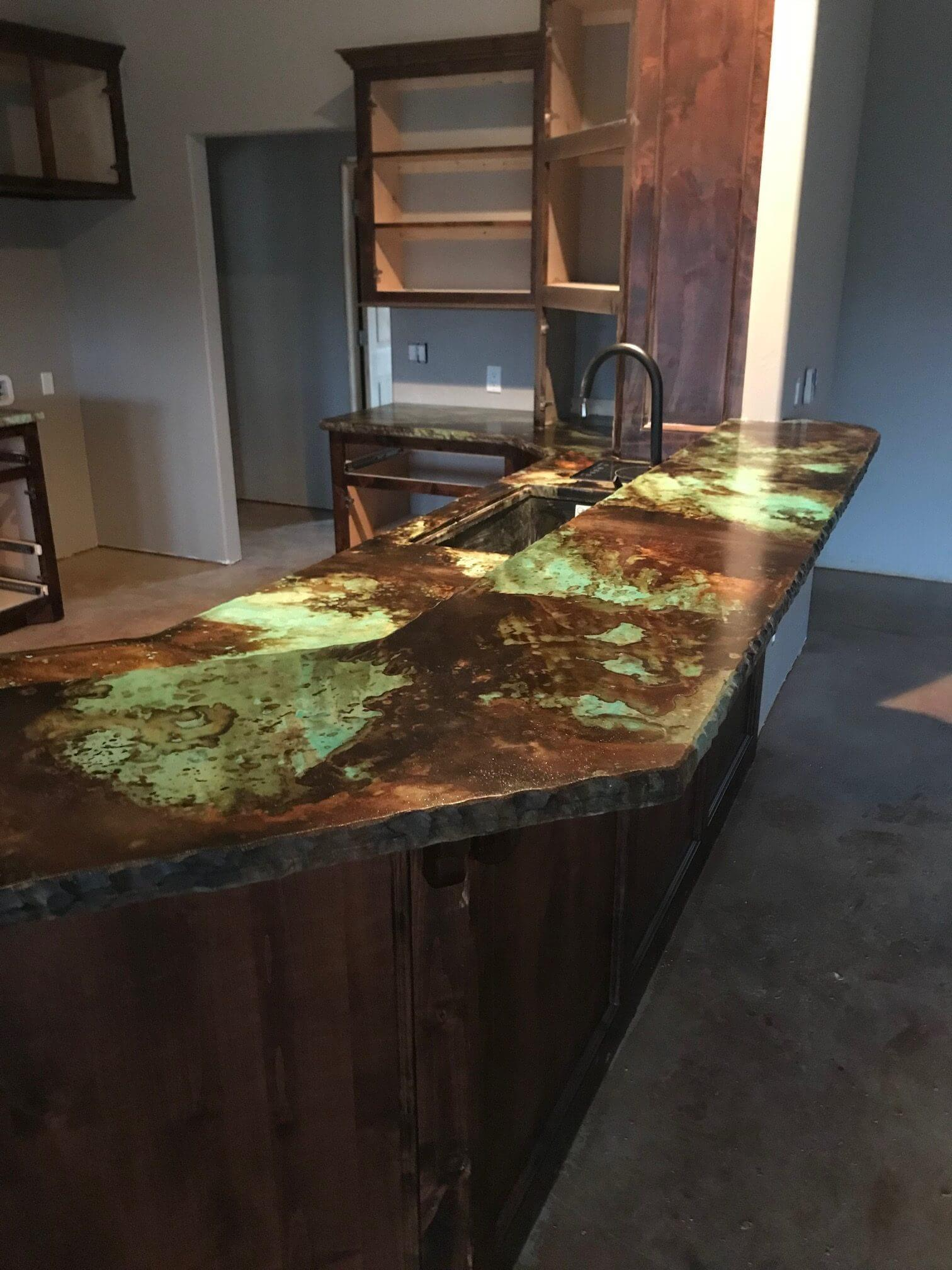 Design by project: Striking Acid Stained Kitchen Countertops