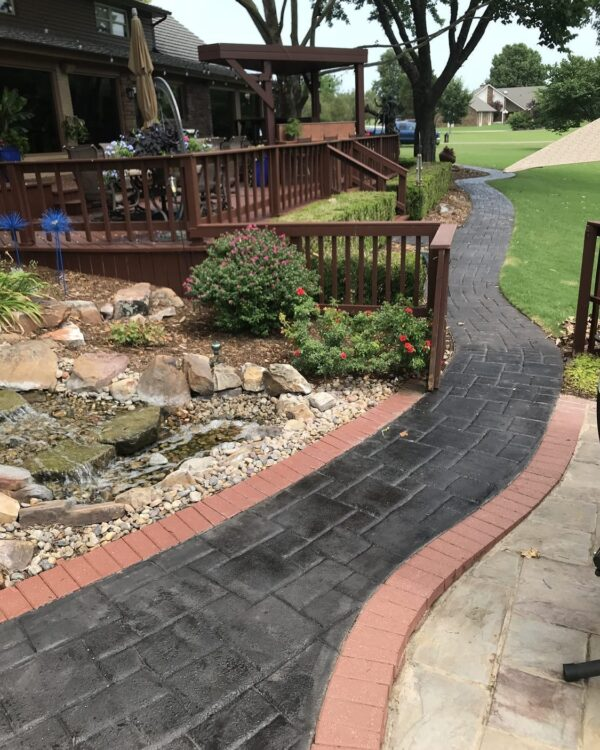 Black Stained Concrete Walkway