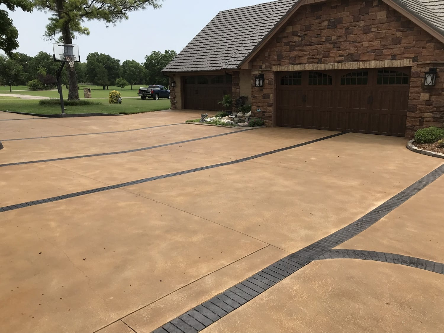 Concrete Stained Driveway and Patio