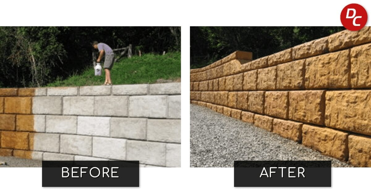 Acid Stained Retaining Wall Before and After Picture