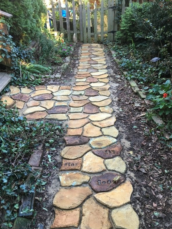 Acid Stained Concrete Paver Walkway
