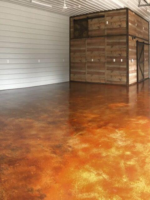 Cola acid stained garage concrete floor