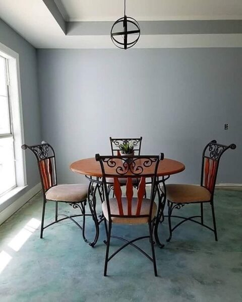 Blue Acid Stained Dining Room Concrete Floors