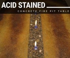 Acid Stained Concrete Table with Fire Pit