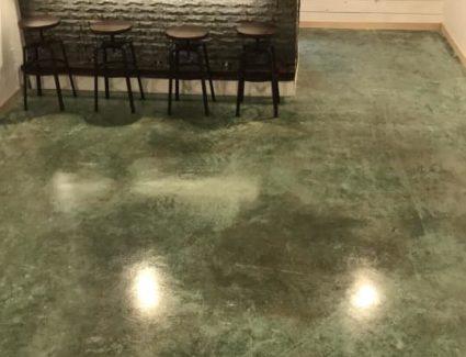Acid Stained Basement Bar Floor