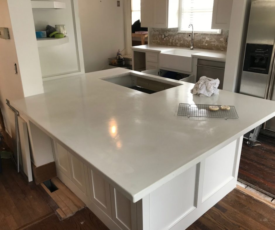 White Concrete Countertop Integral Pigment Direct Colors