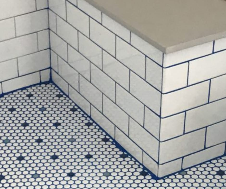 Royal Blue Grout Shower Tile Project