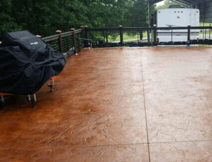 Acid Stained Stamped Concrete Patio
