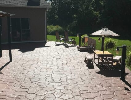 Acid Stained Stamped Concrete Backyard