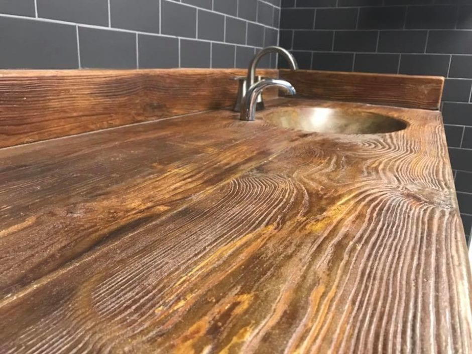 Concrete Wood Grain Bathroom Vanity