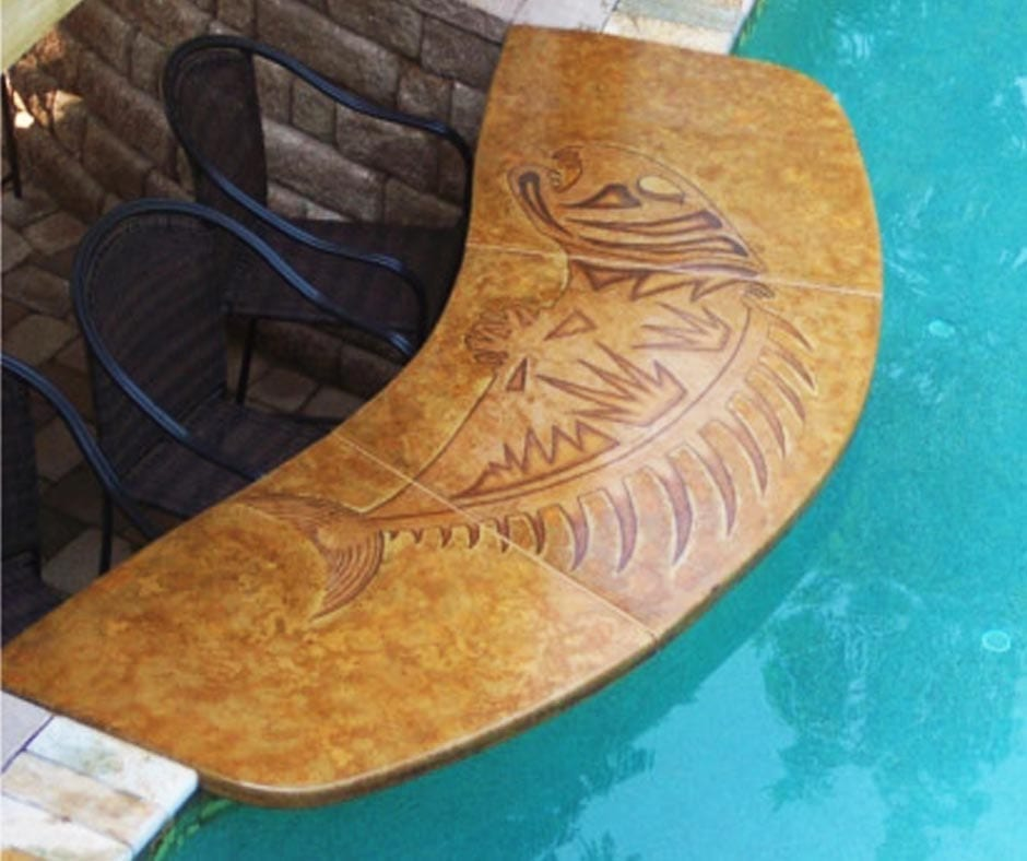 Design by project: Concrete Pool Deck & Swim-Up Bar Top Staining Ideas