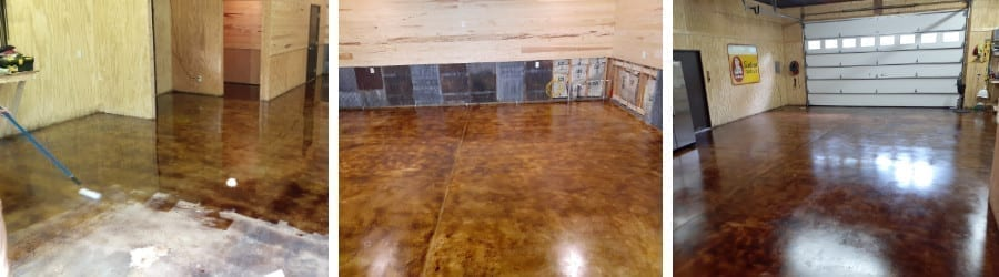 Acid Stained Concrete Garage Floor