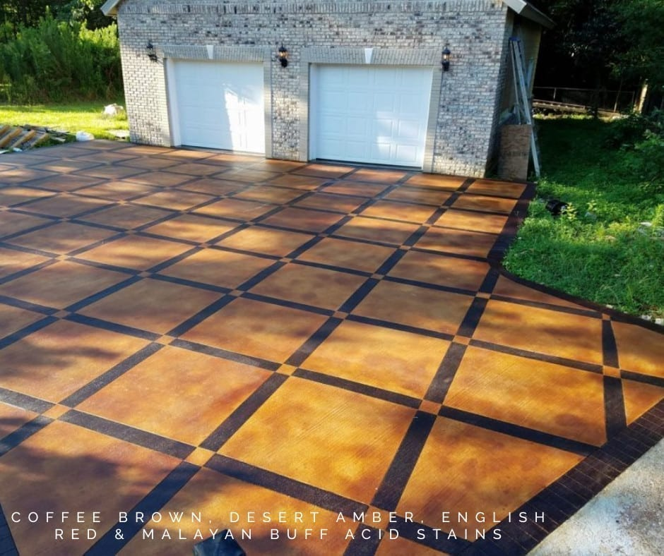 Acid Stained Checkered Driveway Design