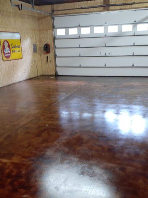 Coffee Brown Acid Stained Garage Floor