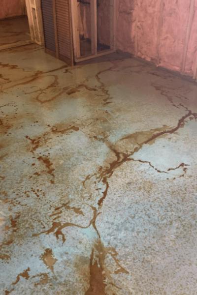 Acid stained art studio concrete floor