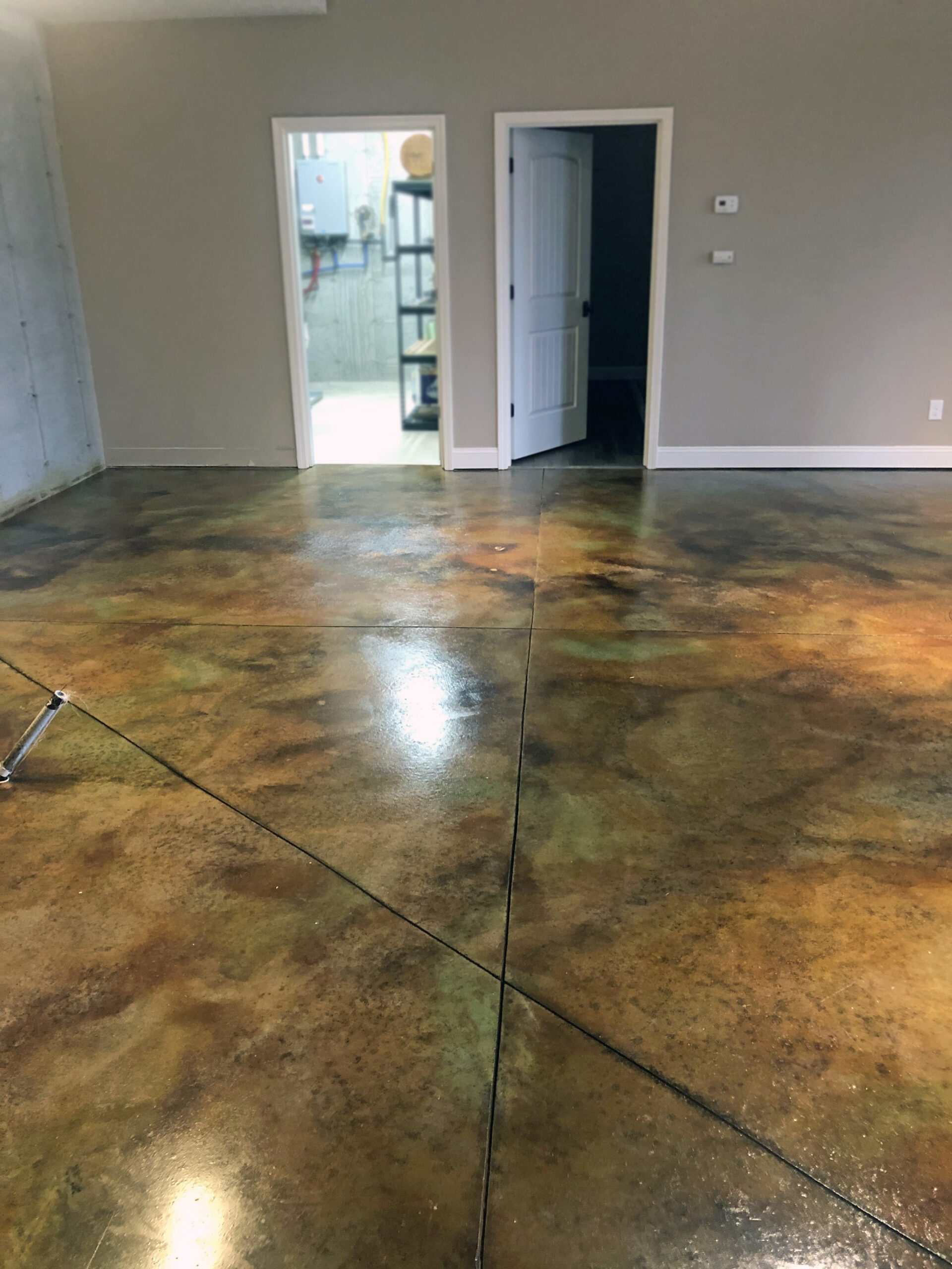 Acid Stained Concrete Basement Floor