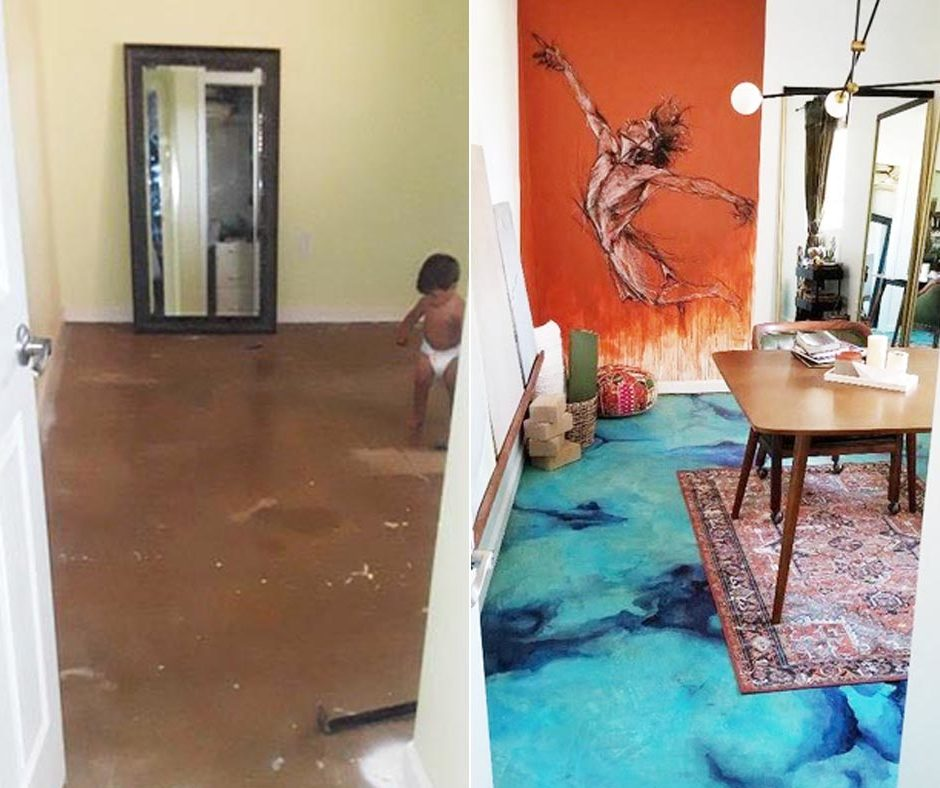 Before and After Acid Staining Concrete Floors