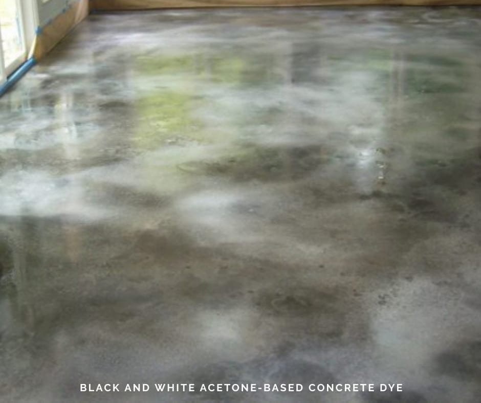 Black and White Acetone-Based Concrete Dye