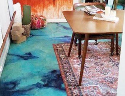 Salvatore A. Leo Studio - Azure Blue Concrete Floor Design